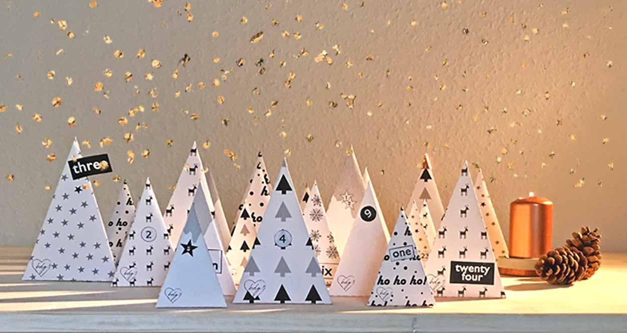 Adventskalender Weihnachtswald zum Ausdrucken