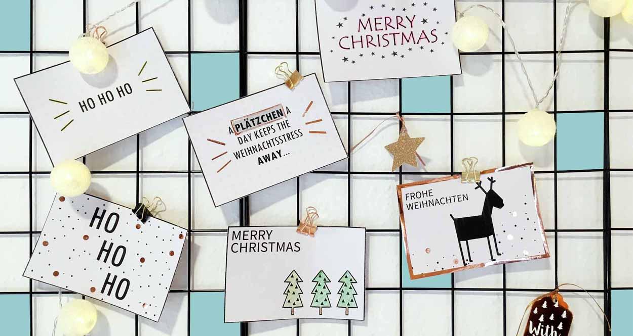 Weihnachtskarten selber basteln mit Vorlagen zum Ausdrucken