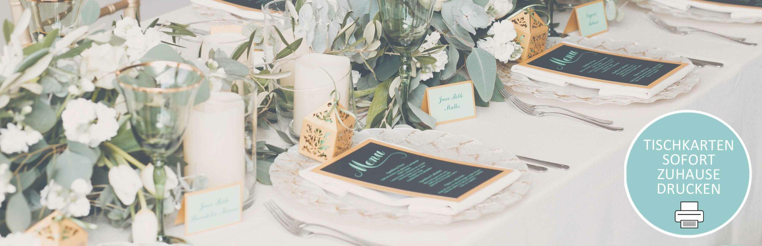 Druckt eure Tischkarten für euren Hochzeitstisch einfach zuhause aus