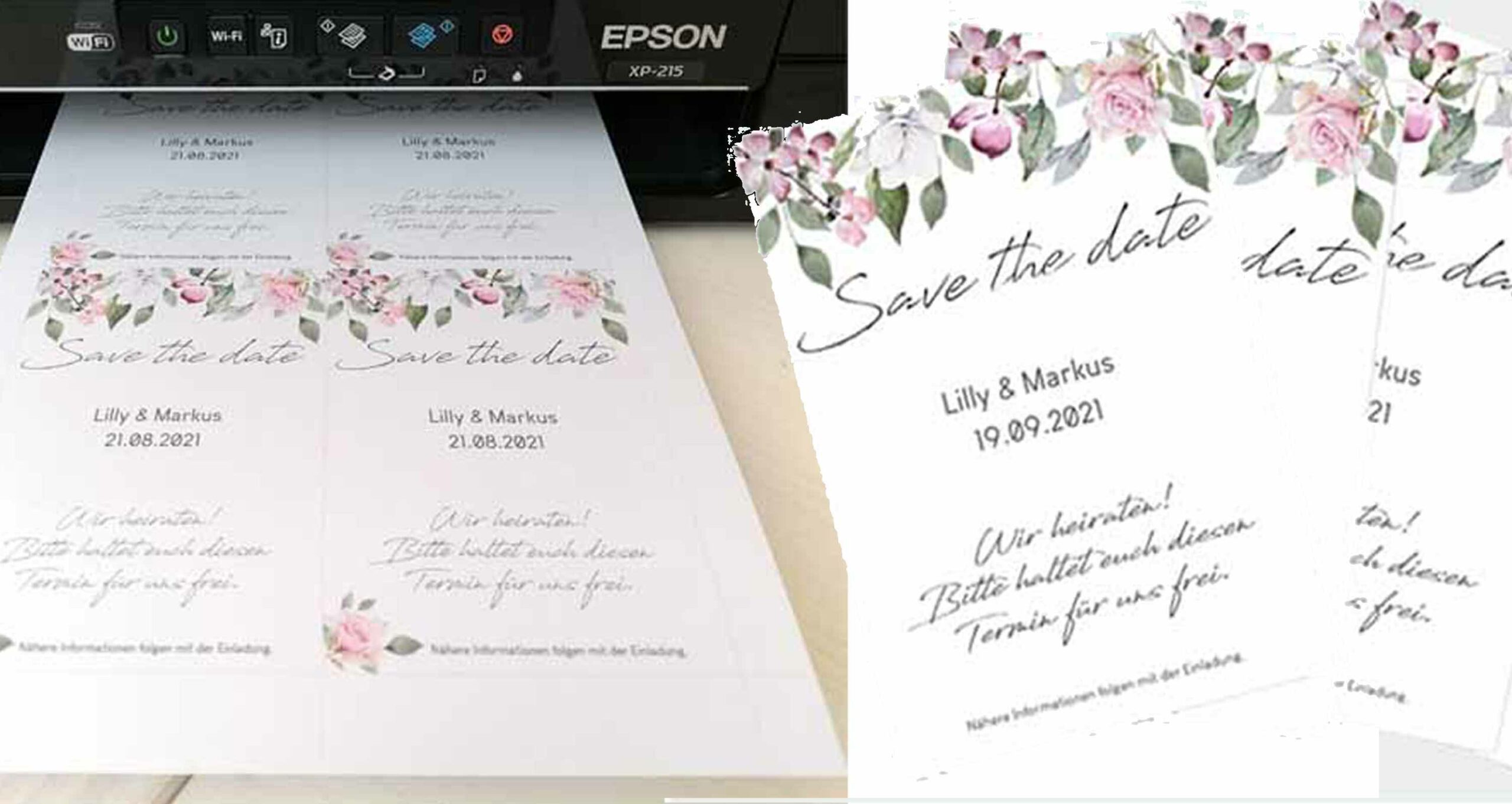 Hochzeitspapeterie selber machen mit Druckvorlagen