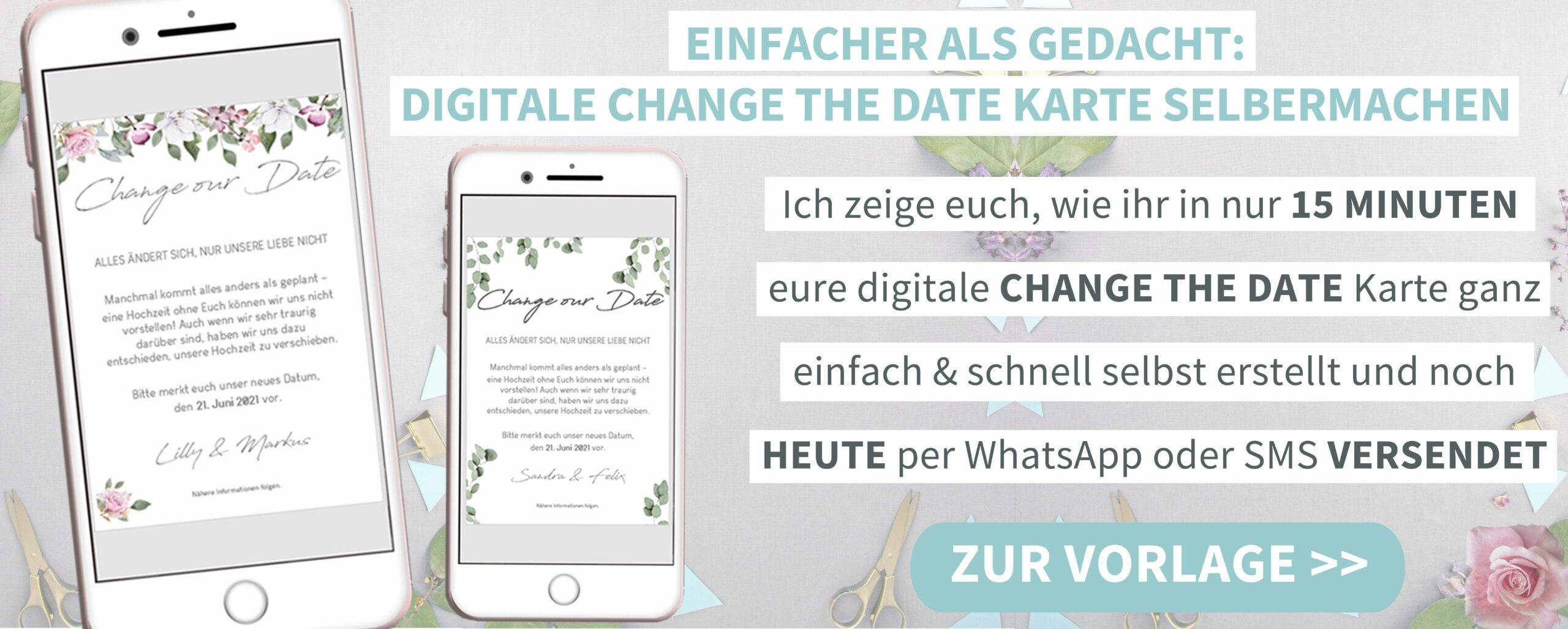 Hochzeit verschieben per Whatsapp oder Email