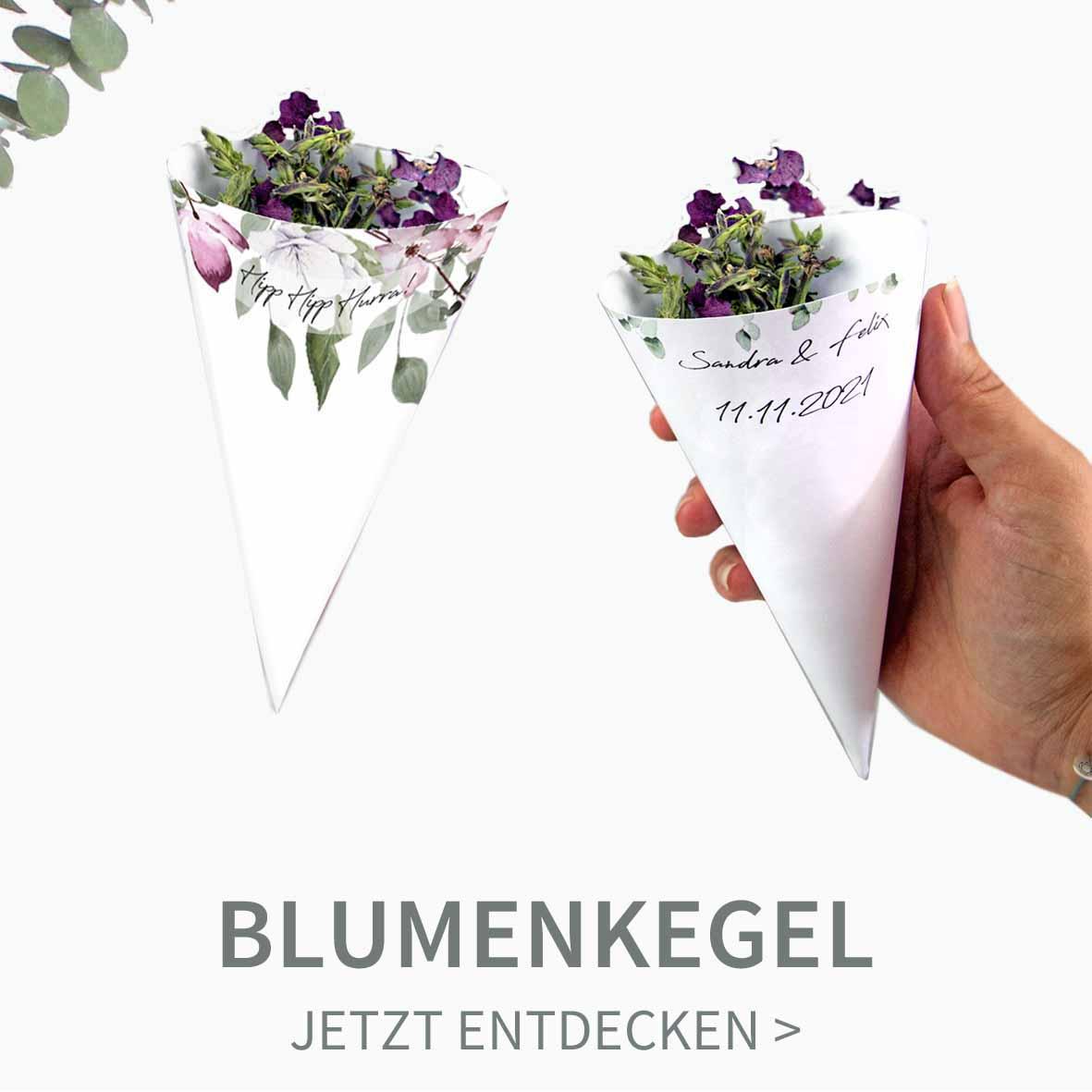 Druckvorlagen für individuelle Spitztüten für Blumen, Reis oder Konfetti