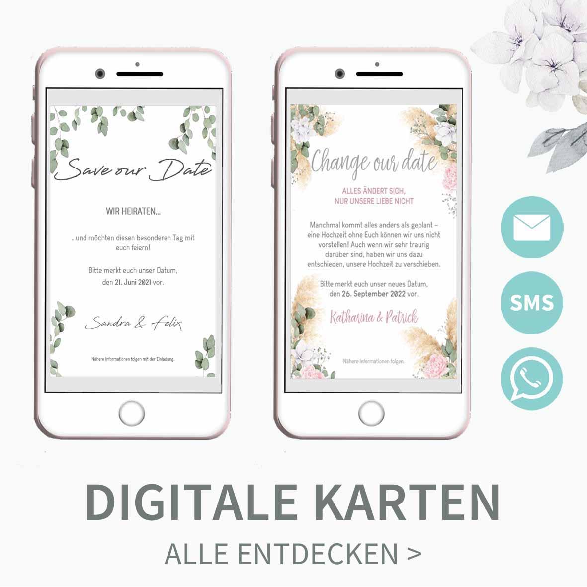 Vorlagen für digitale Hochzeitskarten, per E-Mail oder Handy verschicken
