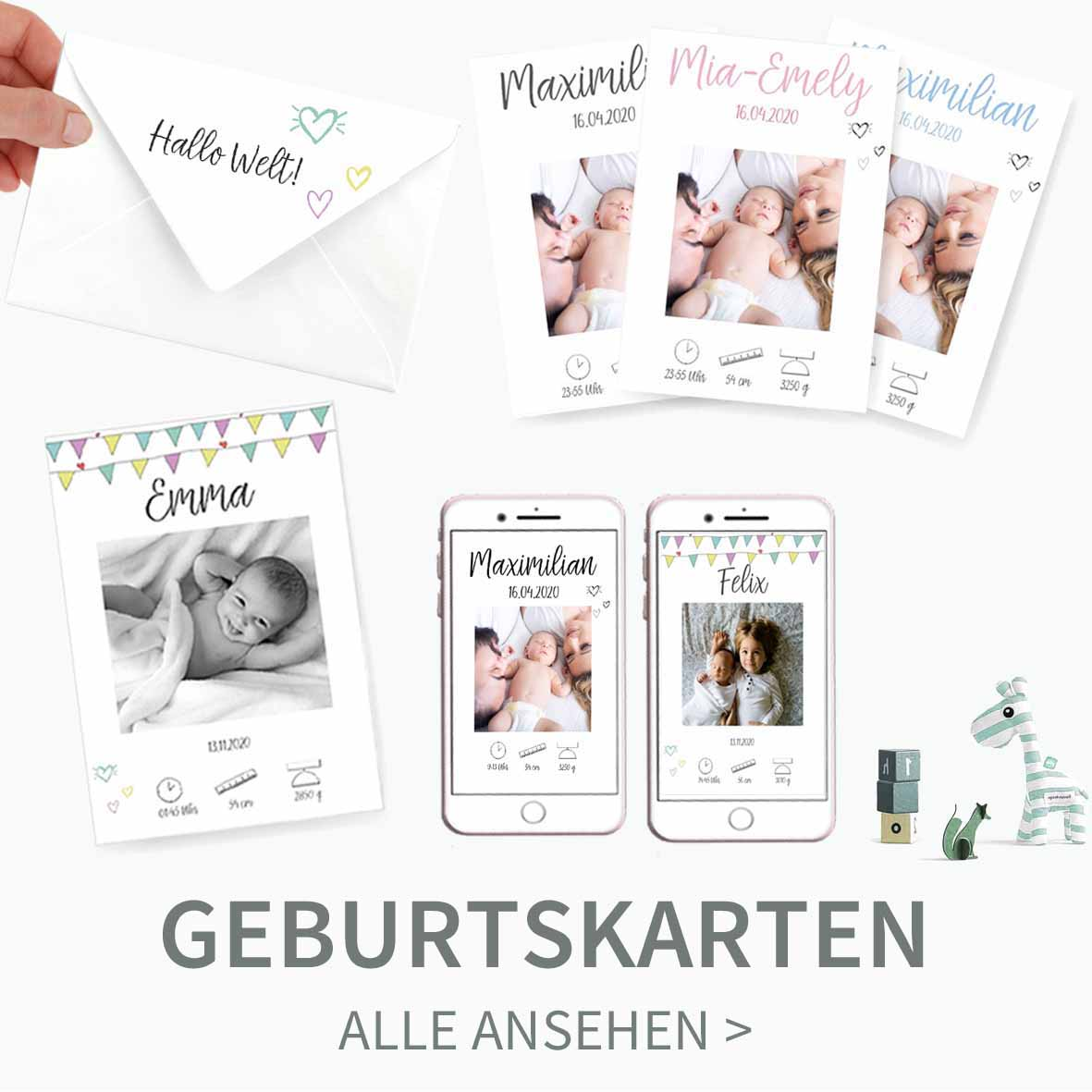 Druckvorlagen für Geburtskarten