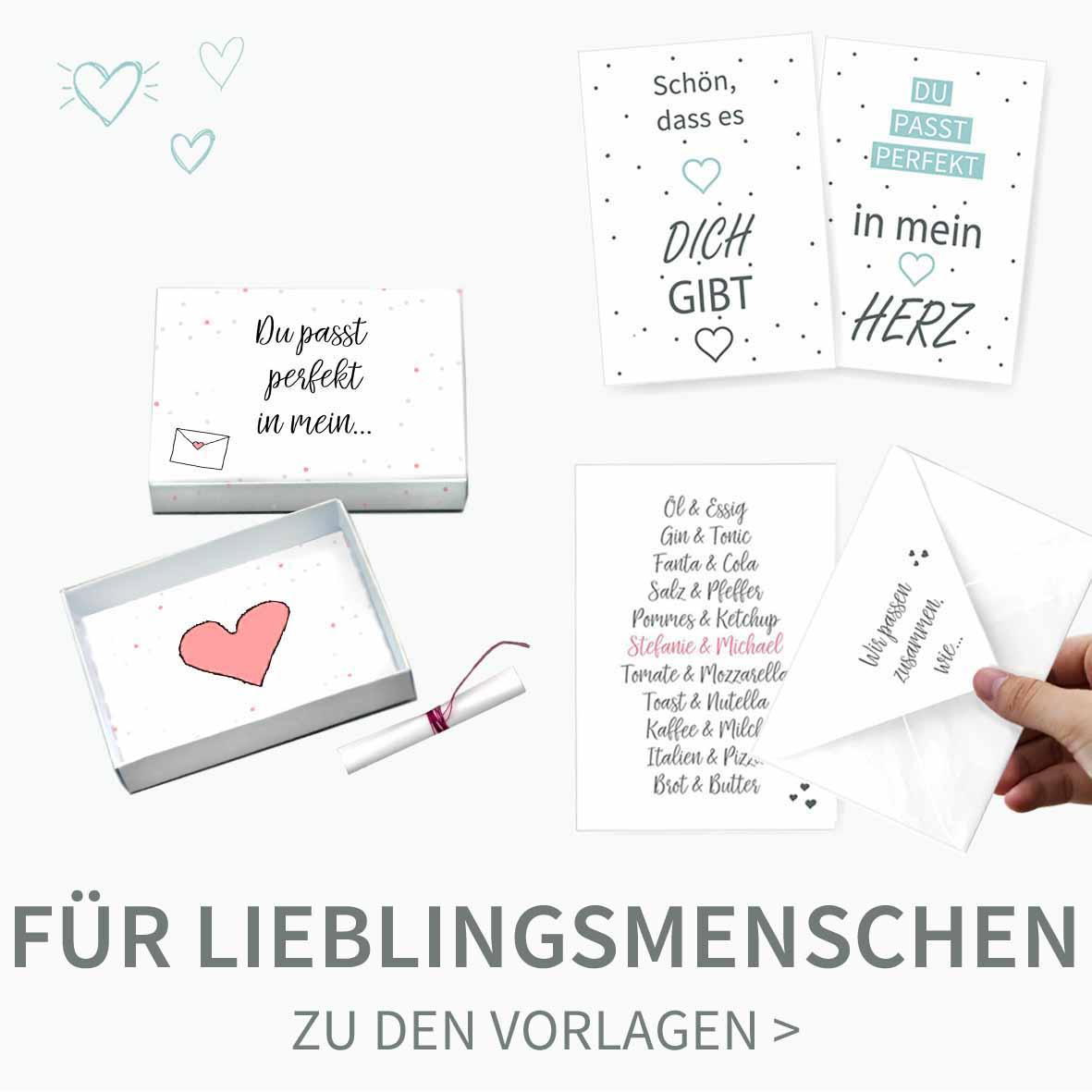 Druckvorlagen für selbst gebastelte Karten und Geschenke