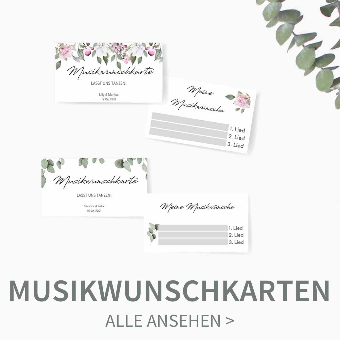Druckvorlagen für Musikwunschkarten zum personalisieren