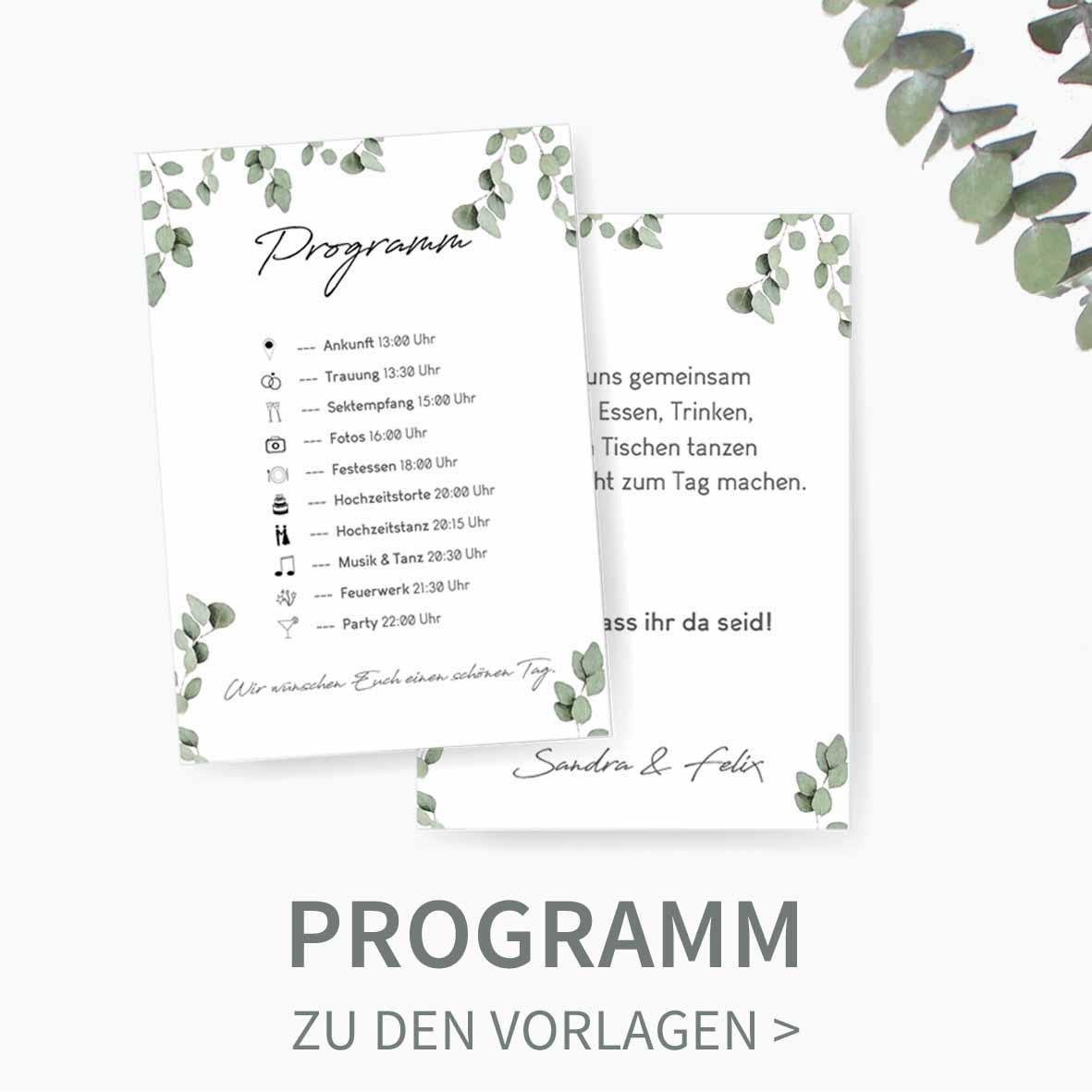 Druckvorlagne für euer Hochzeitsporgramm