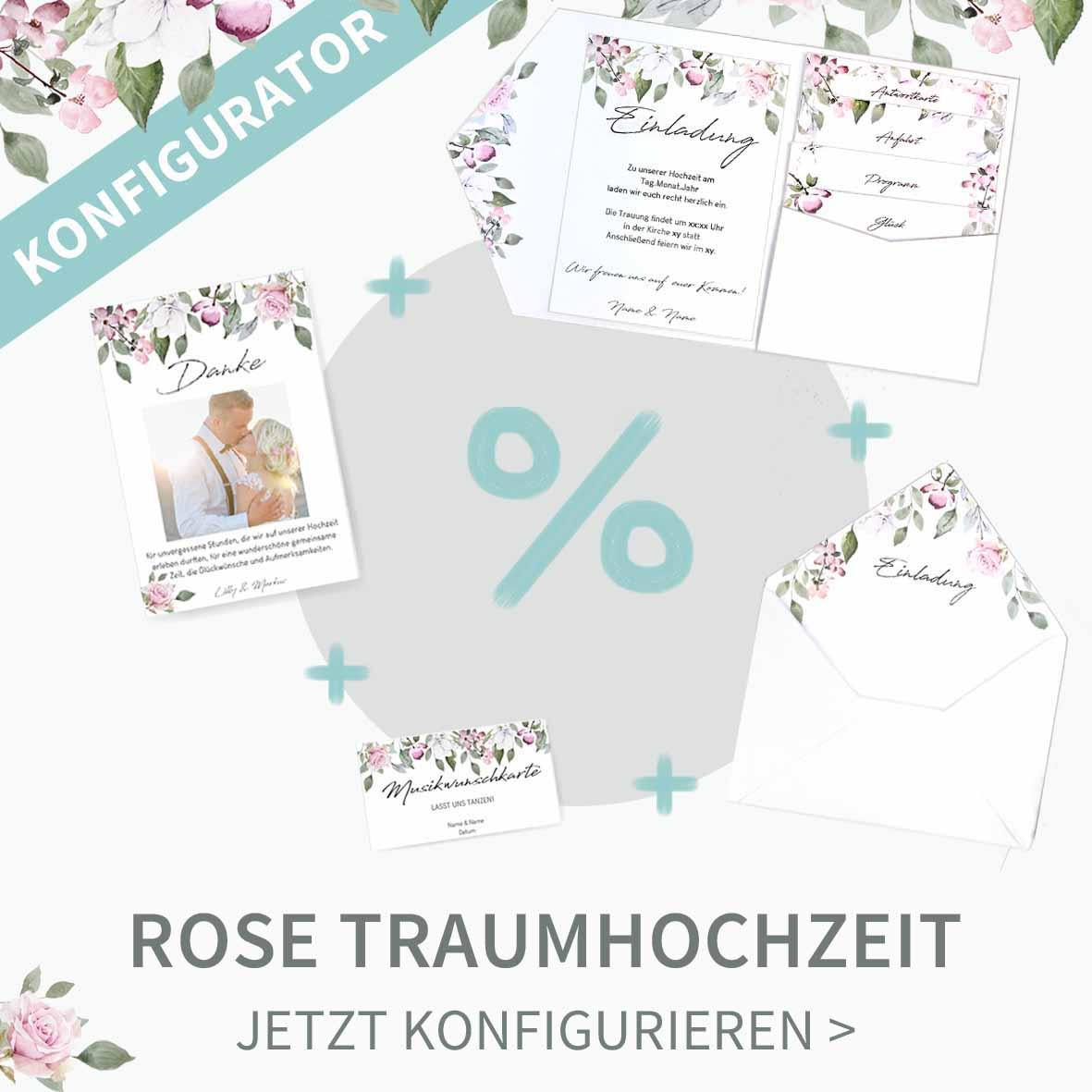 Konfiguriert eure Traumhochzeit im romantischen Rose Design