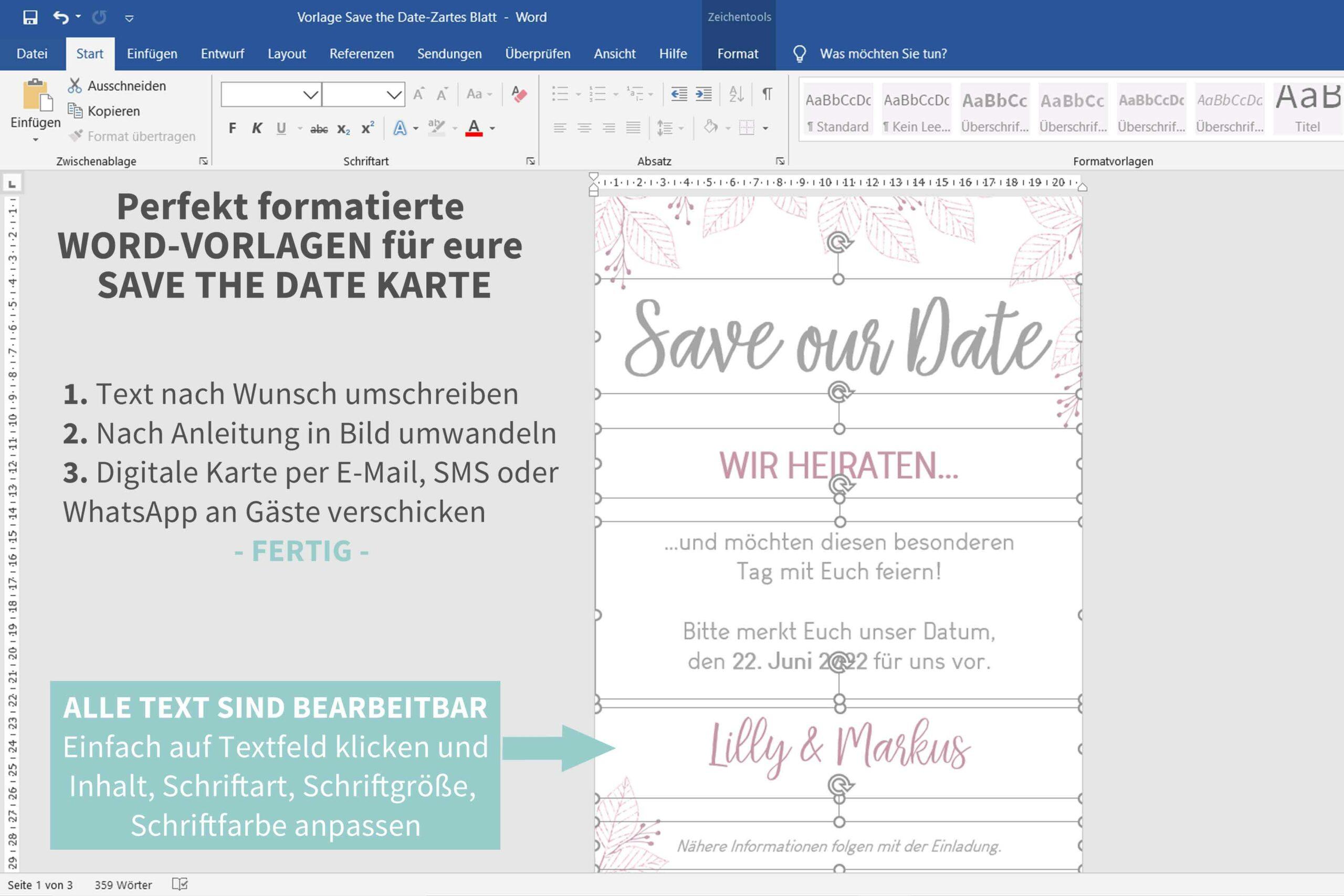 Digitale Save the Date Karten selber machen mit Word Vorlagen