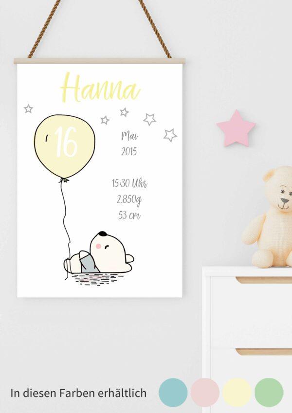 Druckvorlage für ein individuelles Geburtsposter mit Bär