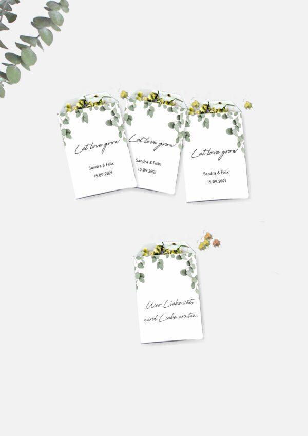 Individuelle Gastgeschenke selbst basteln: Blumensamentütchen