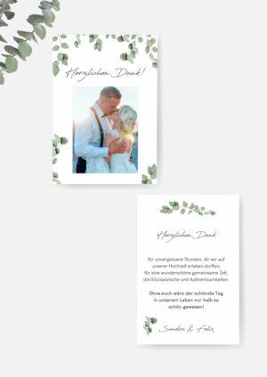 Dankeskarte Hochzeit im Eukalyptus Stil