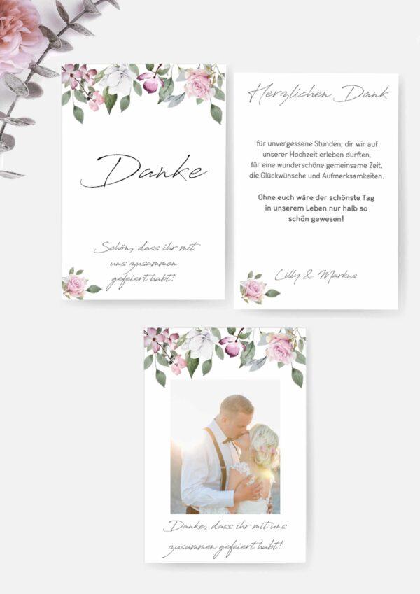Druckvorlagen für Danksagungskarten Hochzeit
