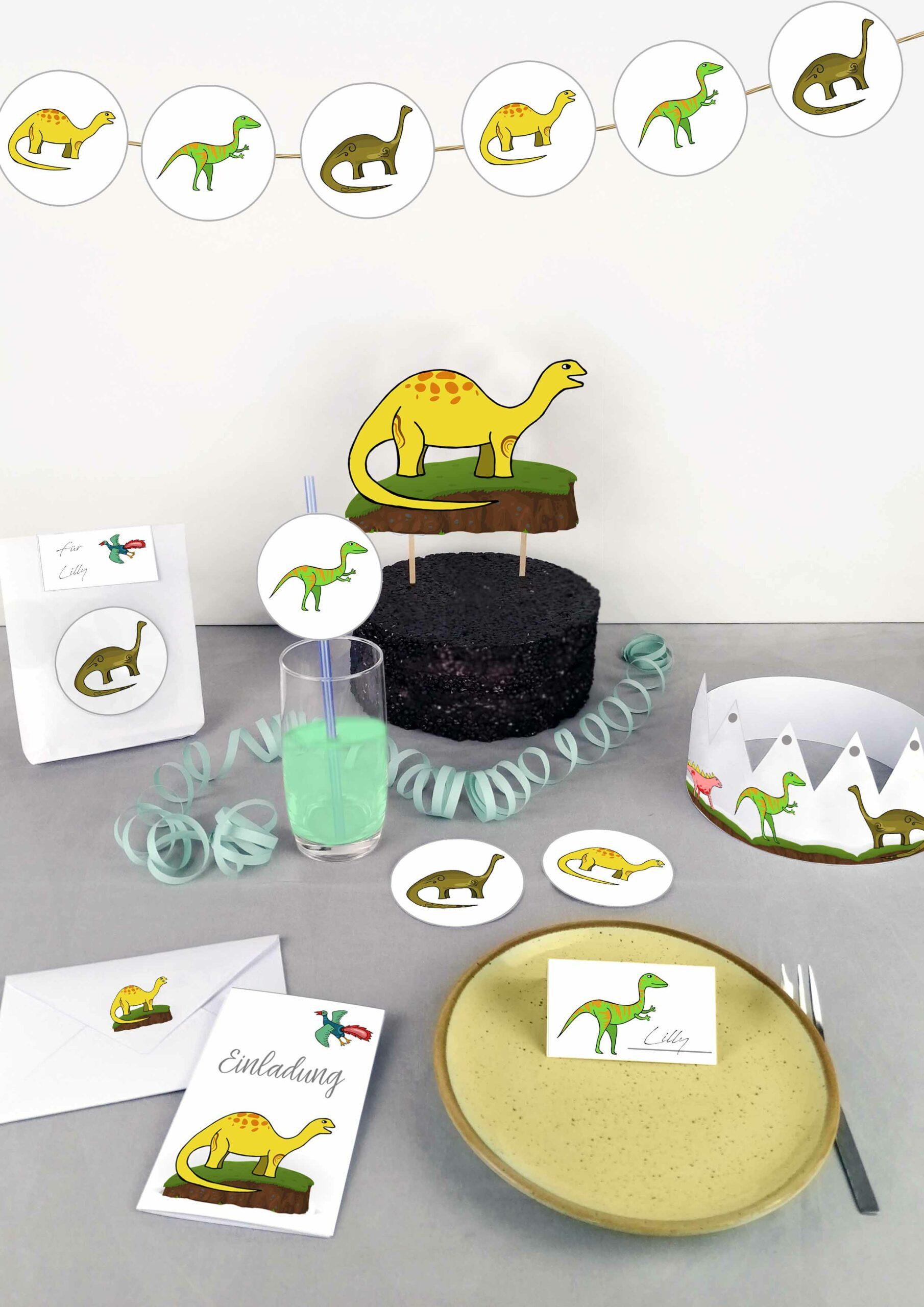 Druckvorlagen für die perfekte Dino Geburtstagpart