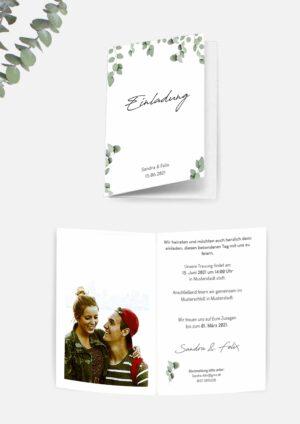 Hochzeitseinladung im Greenery Stil