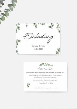 Hochzeitseinladung im Eukalyptus Stil selber machen