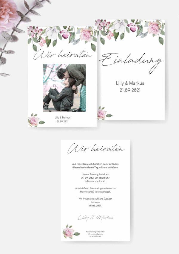 Romantische Hochzeitseinladung Druckvorlage