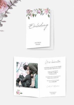 Druckvorlagen für eine romantische Hochzeitseinladung