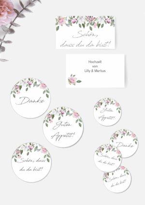 Druckvorlagen für romantische Etiketten
