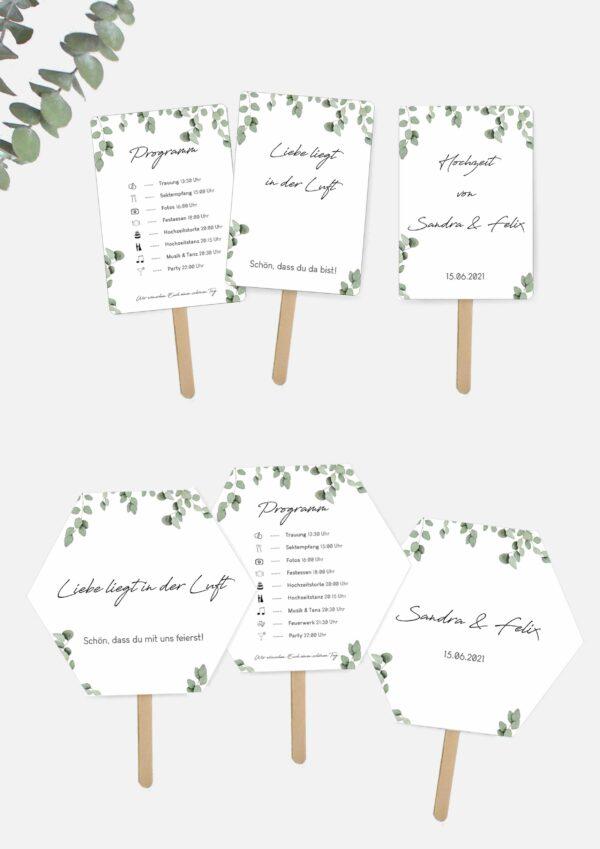 Hochzeitsfächer mit Programm selbst basteln im Greenery Stil