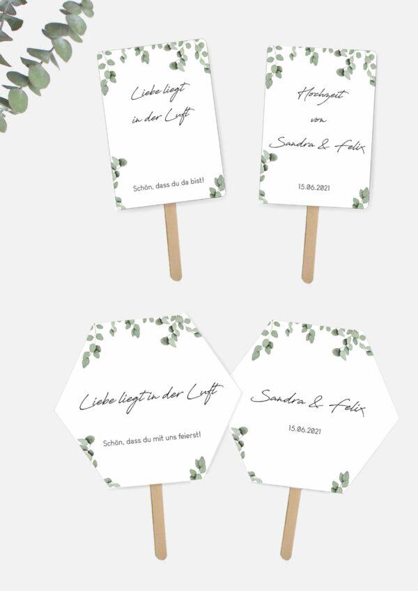 Hochzeitsfächer selbst basteln im Greenery Stil