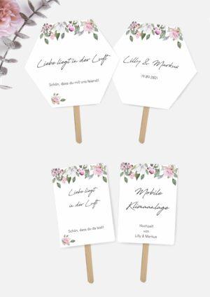 Hochzeitsfächer selbst basteln im Rose Design