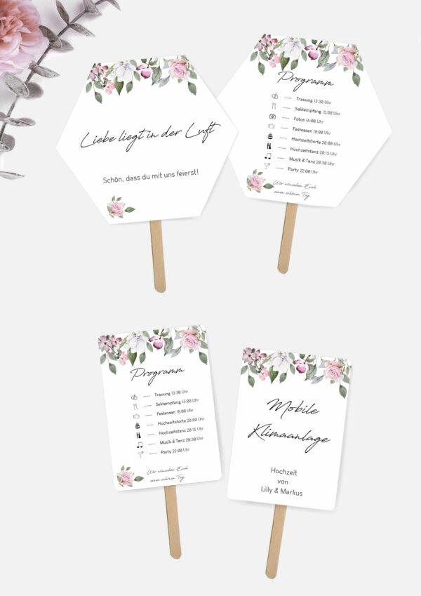 Hochzeitsfächer mit Programm selbst basteln im Rose Design