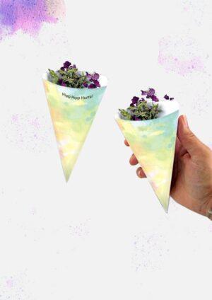 Druckvorlagen für personalisierbare Blumen- oder Reiskegel