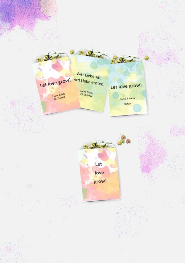 Druckvorlagen für individuelle Blumensamentüten