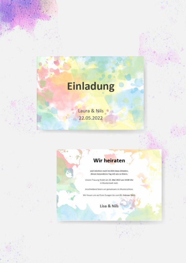 Druckvorlagen für Hochzeitseinladungen im Festival-Design