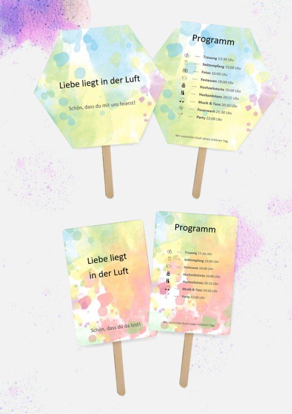 Druckvorlagen für individuelle Hochzeitsfächer mit Programm