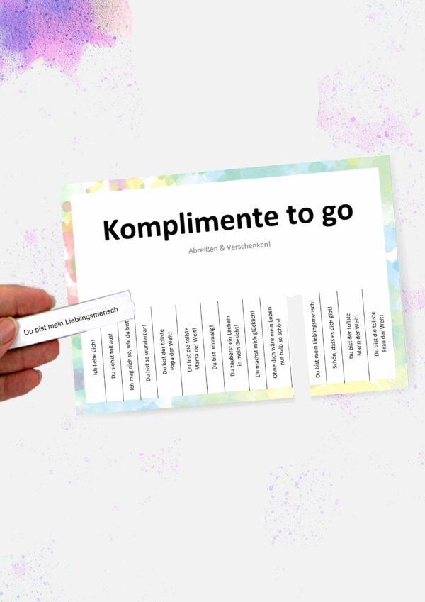 Druckvorlagen für individuelle Komplimente to go