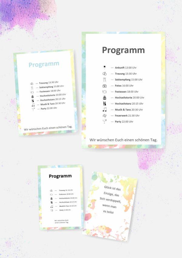 Druckvorlagen für euer Hochzeitsprogramm inkl. Symbolen