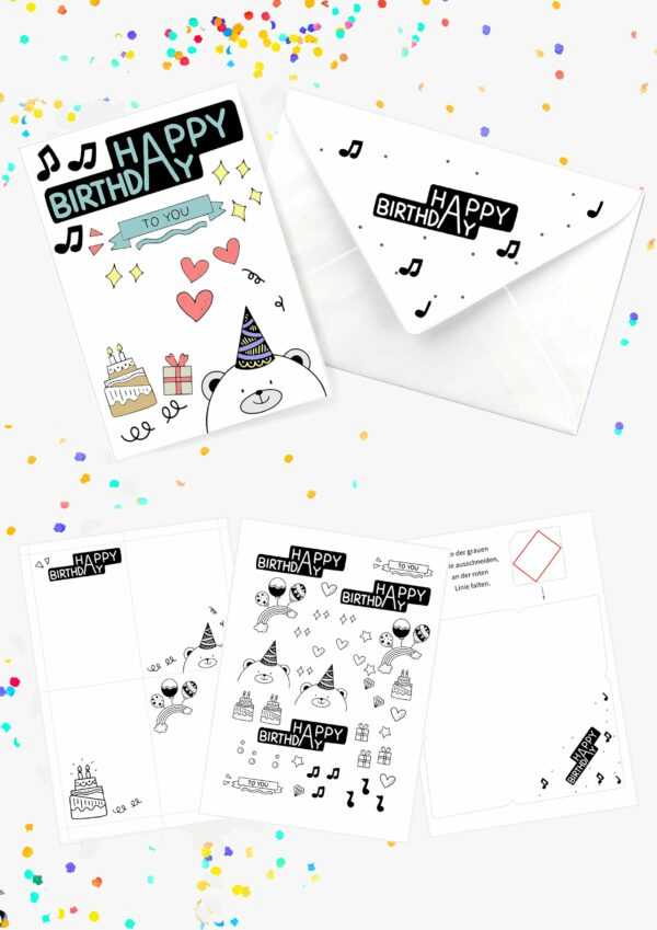 Druckvorlagen für individuelle Geburtstagskarten