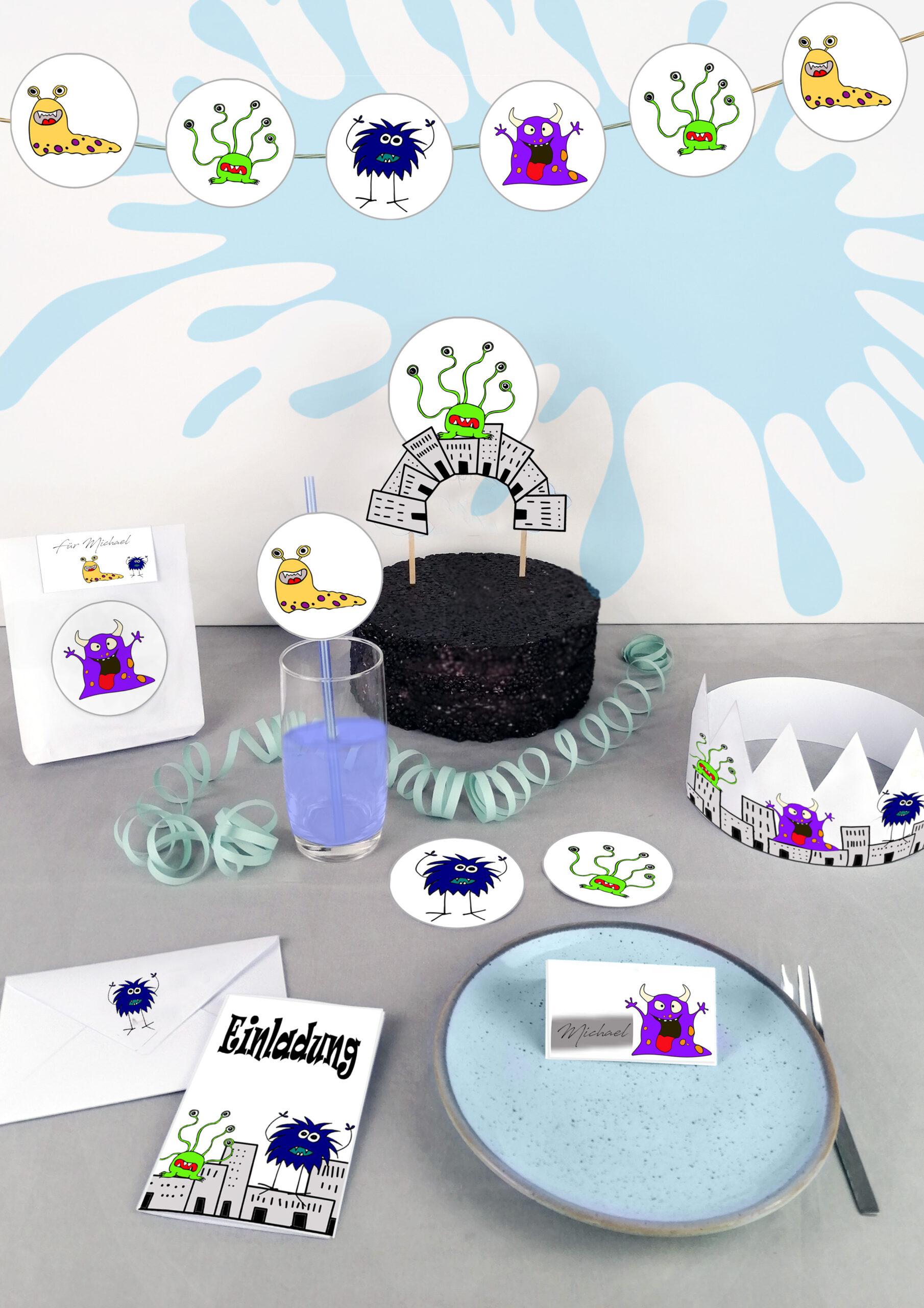 Druckvorlagen für die perfekte Monster Geburtstagpart