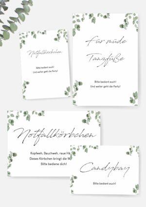 Druckvorlagen für Schilder im Eukalyptus Design