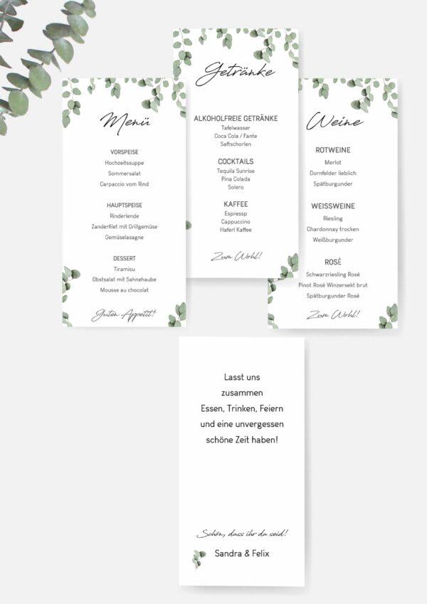 Speisekarte für die Hochzeit im Eukalyptus Design einfach selbst drucken