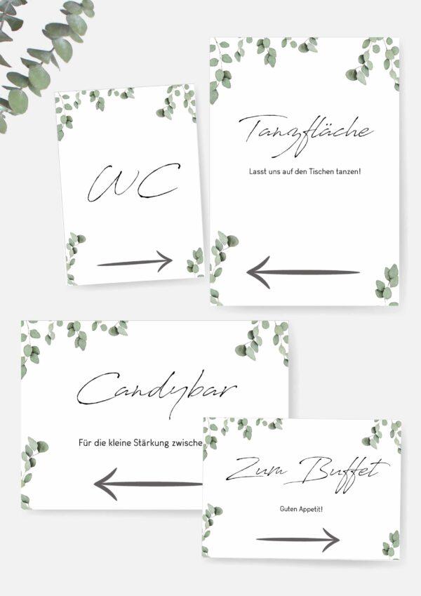 Druckvorlagen für Hochzeitsschilder im Greenery Stil