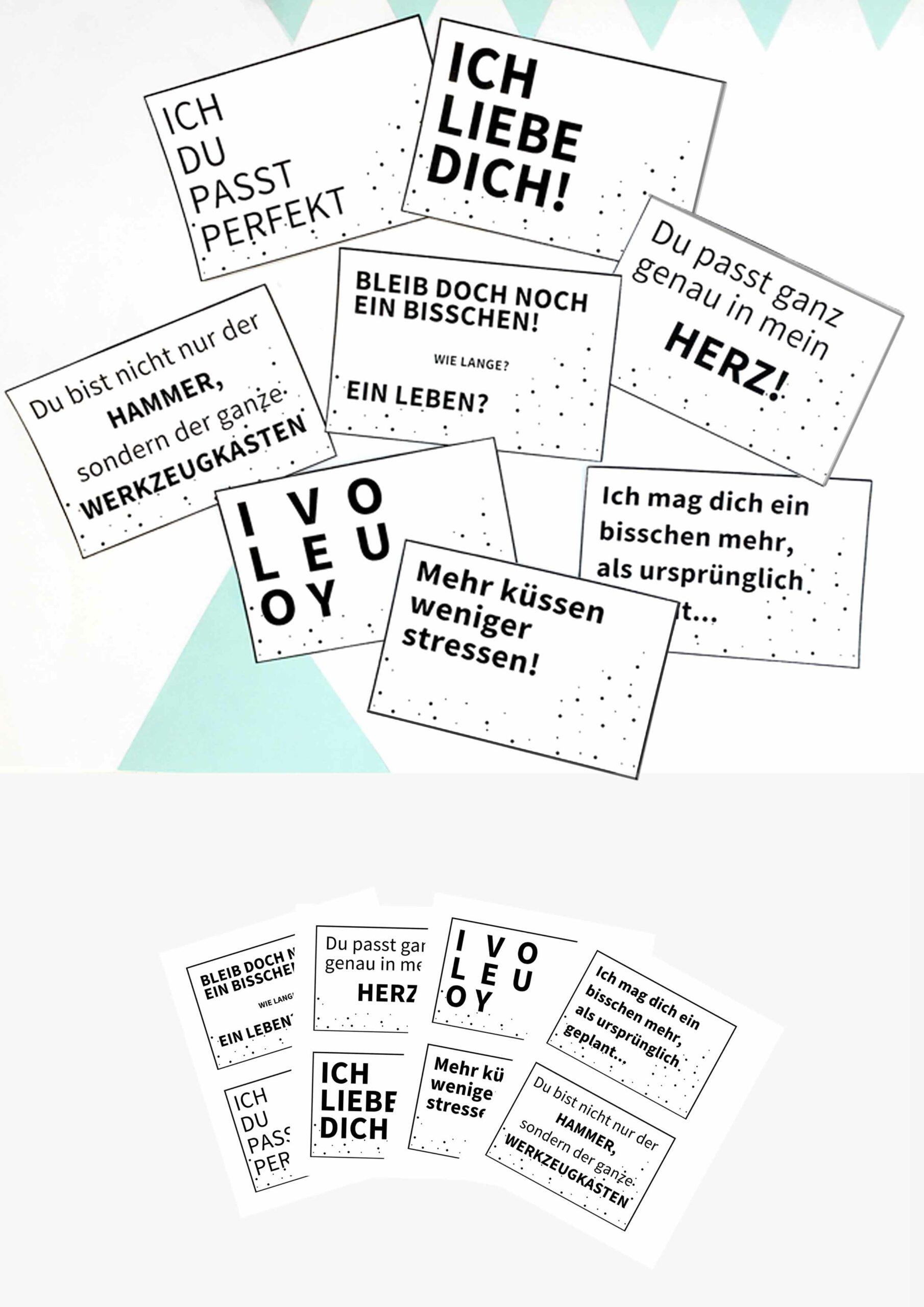 Druckvorlagen für Liebe Worte Karten