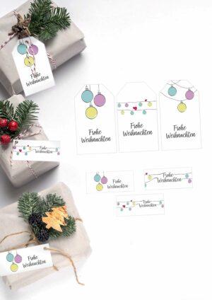 Druckvorlagen für Geschenkanhänger für Weihnachten