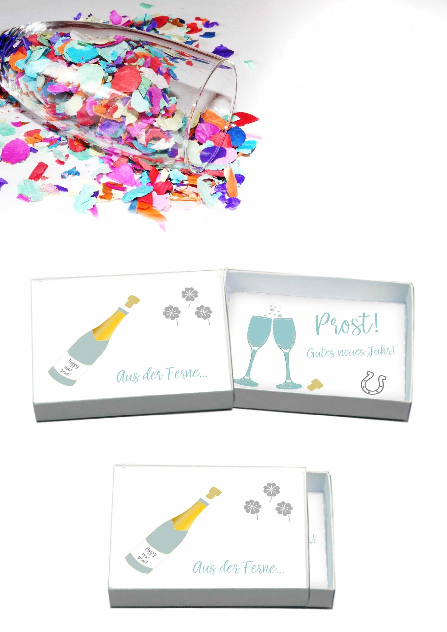Druckvorlagen für Neujahrsgrüßeaus der Box