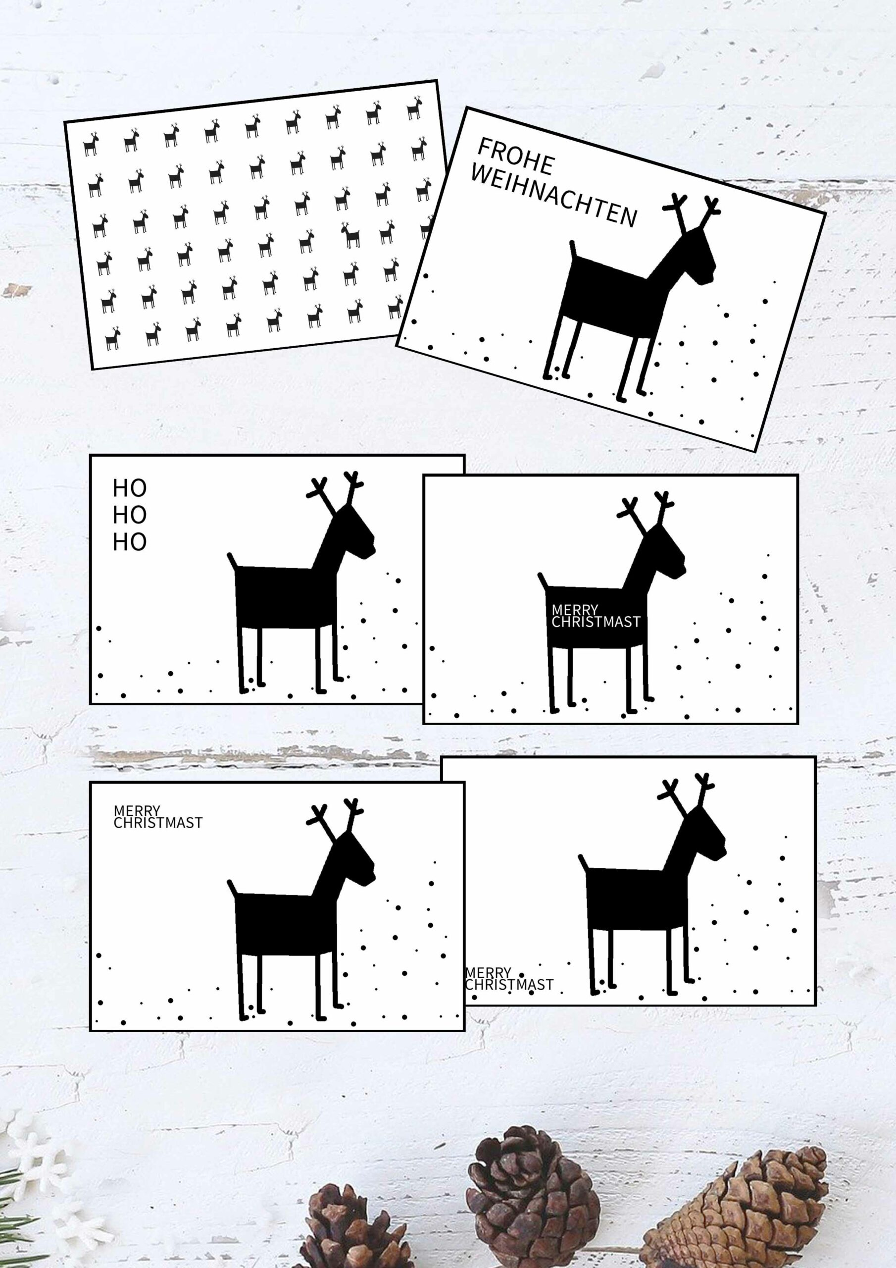 Druckvorlagen für minimalistische Weihnachtskarten