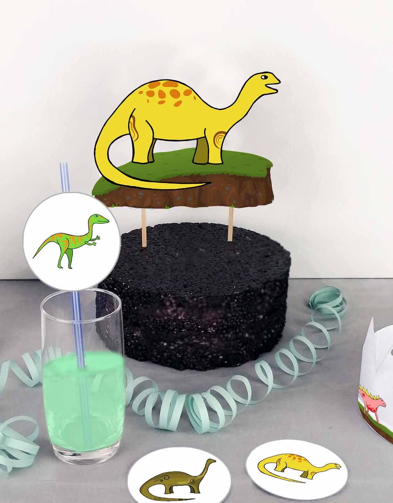 Druckvorlagen für einen selbst gebastelten Motto Cake Topper mit Dino