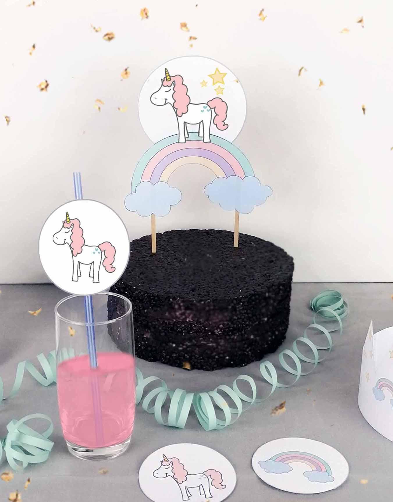Druckvorlagen für einen selbst gebastelten Motto Cake Topper mit Einhorn