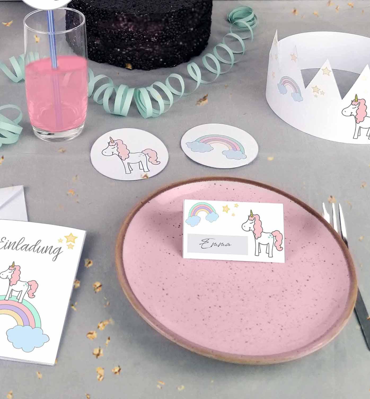 Druckvorlagen für Einhorn Kindergeburtstag Namenskarten