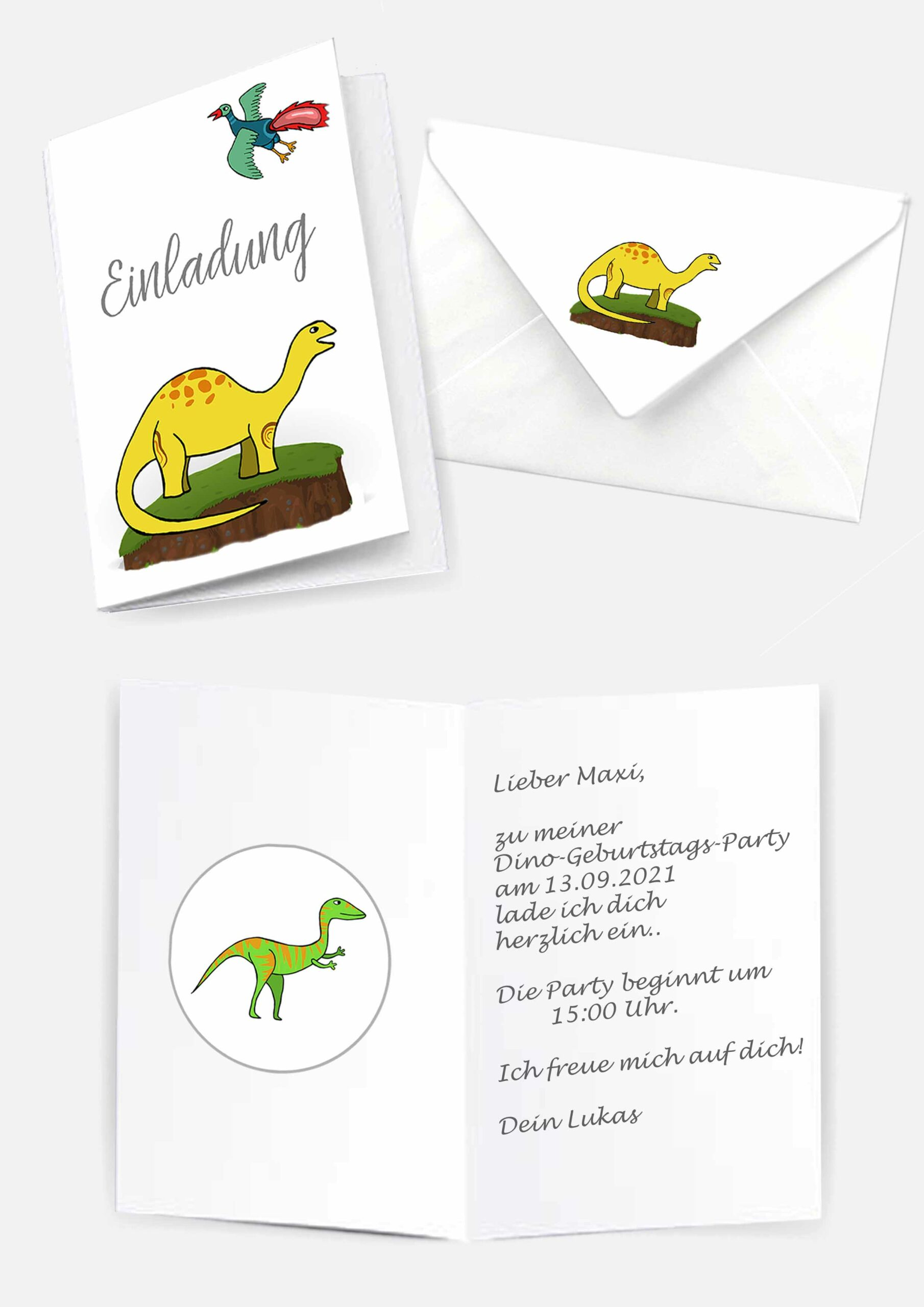 Druckvorlagen für Dinosaurier Einladungskarten