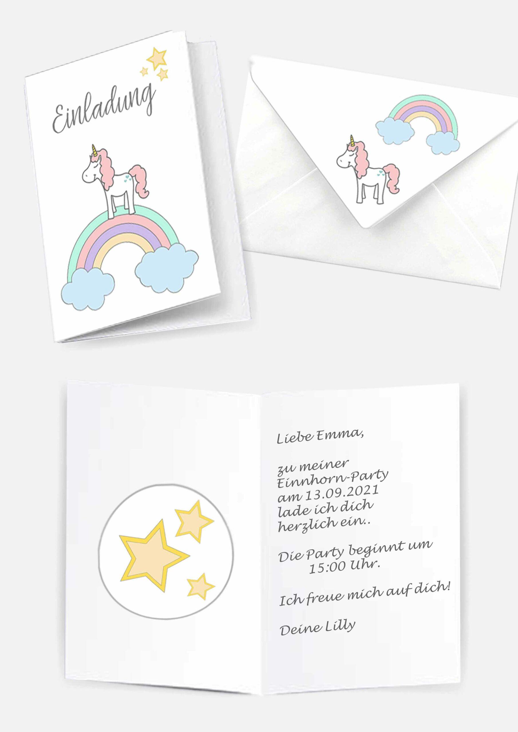 Druckvorlagen für Einhorn Einladungskarten