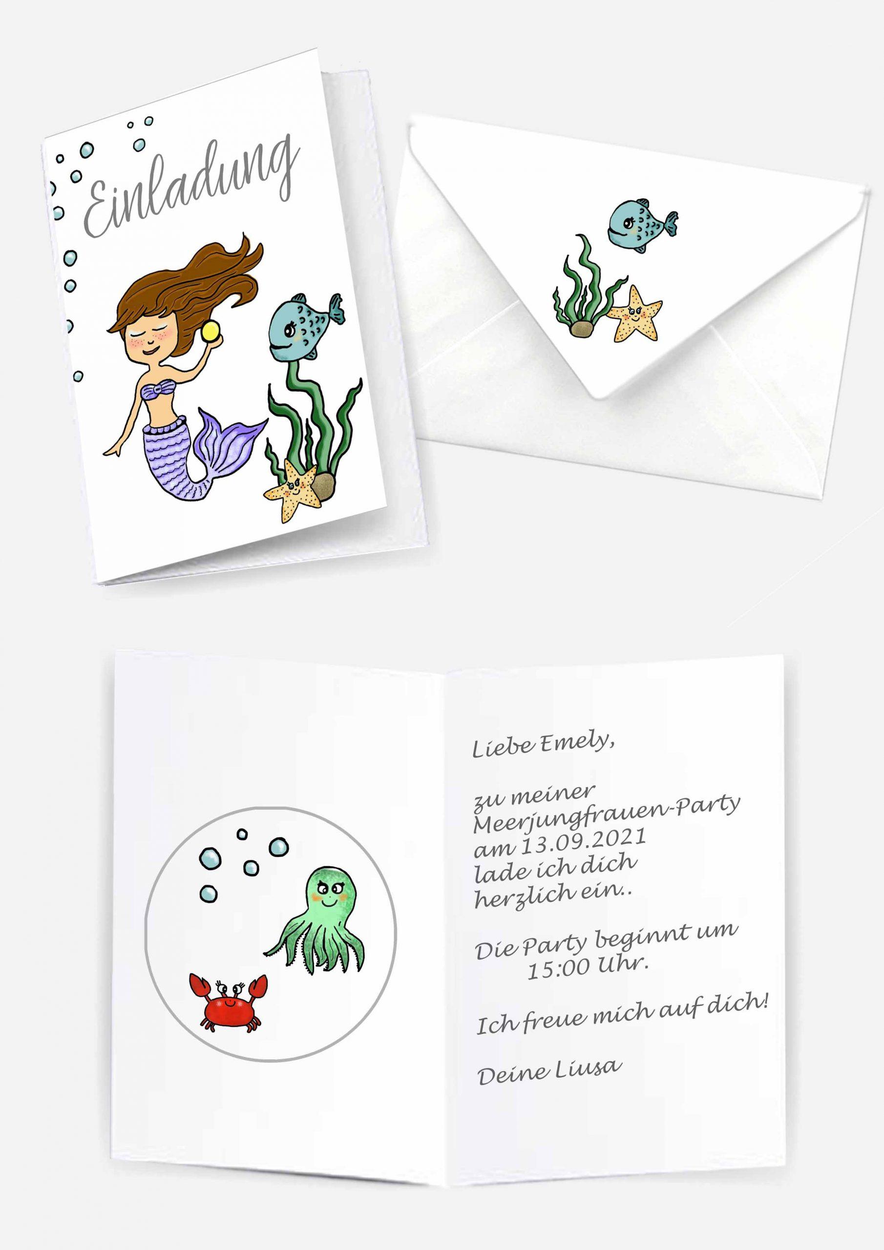 Druckvorlagen für Meerjungfrauen Einladungskarten