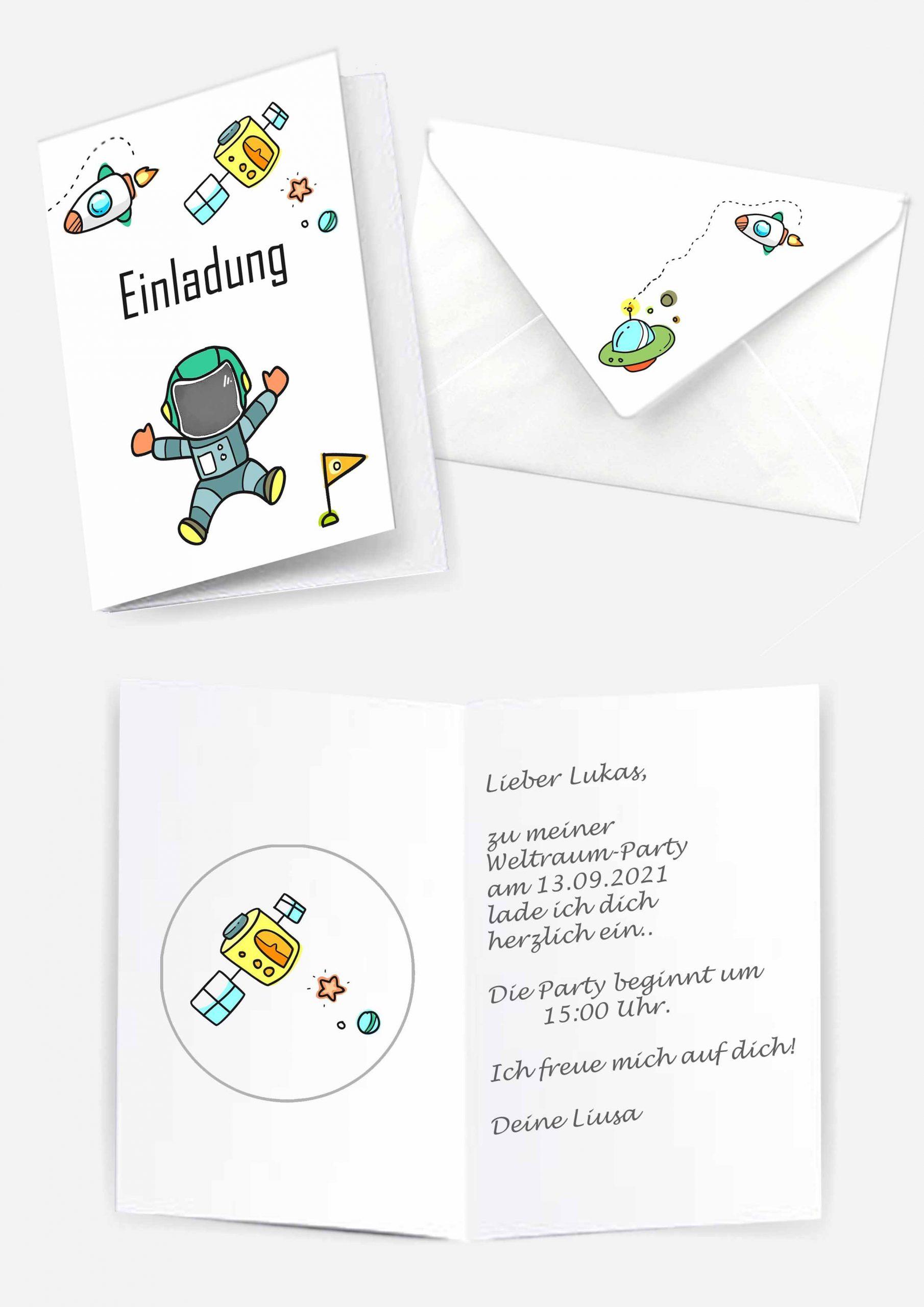 Druckvorlagen für Weltraum Einladungskarten