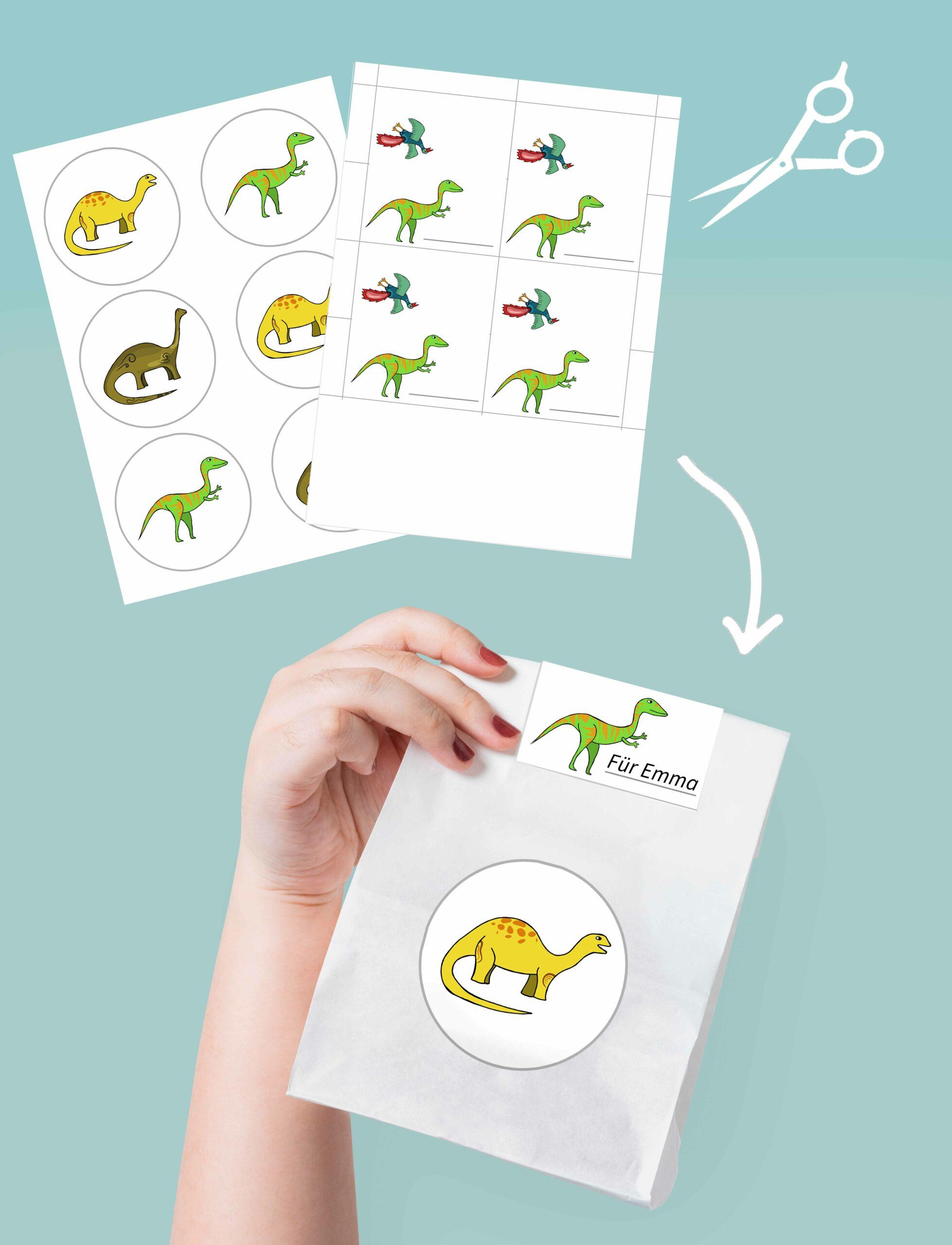 Druckvorlagen zum basteln einer Mitgebseltüte mit Motto Dino